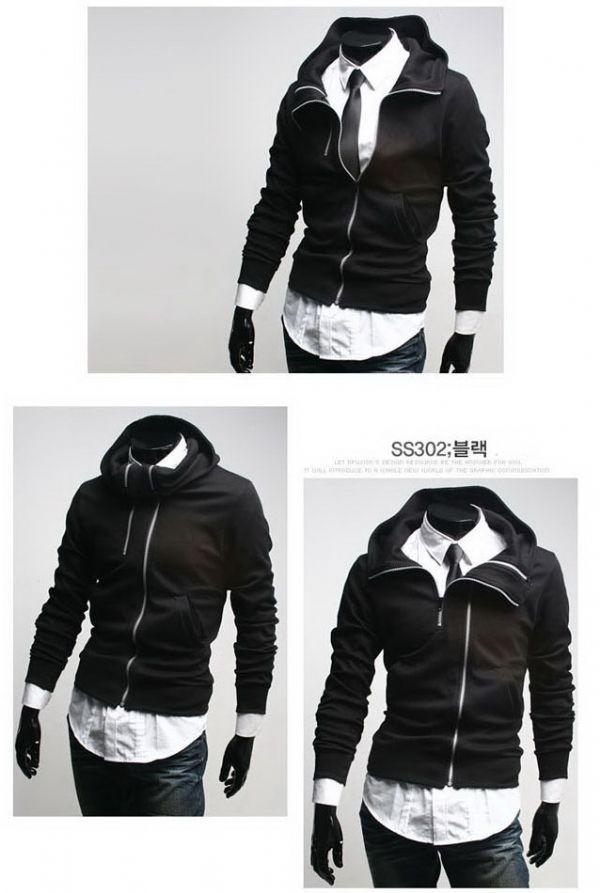เสื้อผ้าผู้ชายพร้อมส่ง : แจ๊คเก็ต magic zipper มีฮูด ปกใส่ได้หลายสไตล์