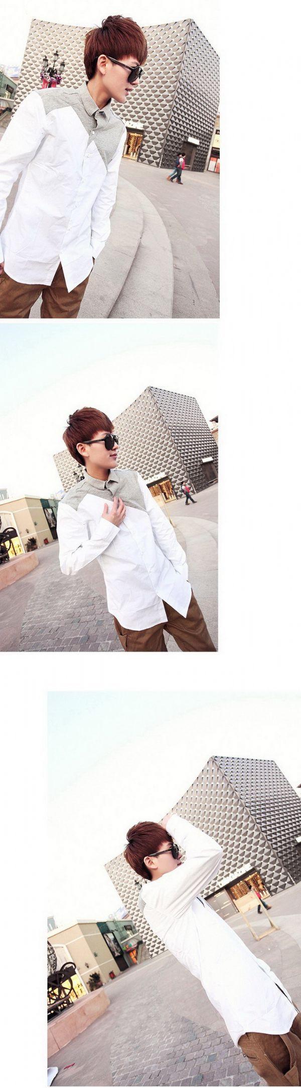 เสื้อผ้าผู้ชาย : เสื้อเชิร์ตขาวต่อผ้าเทา