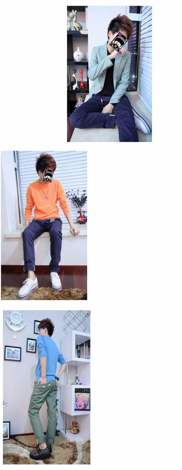 เสื้อผ้าผู้ชาย เสื้อกันหนาวผู้ชายพร้อมส่ง : สเวตเตอร์สีลูกกวาดคอกลม