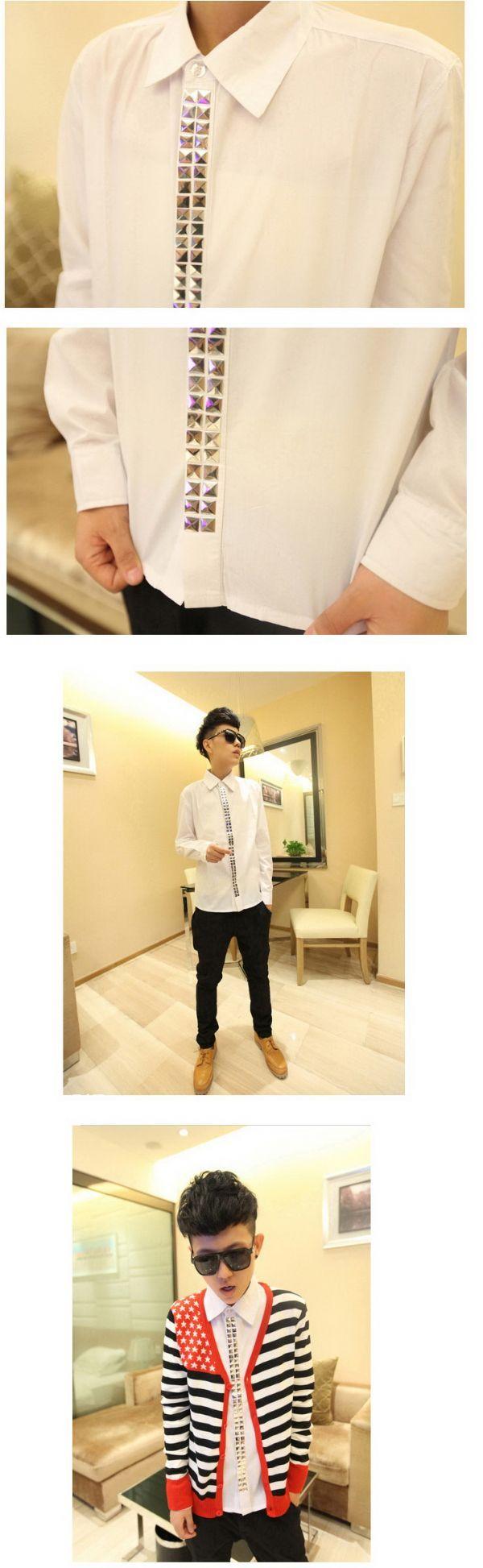 เสื้อผ้าผู้ชาย : เสื้อเชิร์ตสาบปักหมุดเหลี่ยม