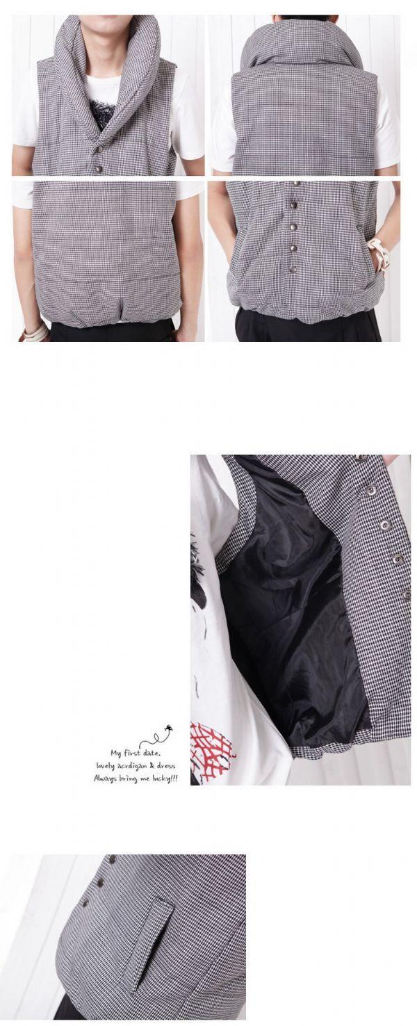 เสื้อกันหนาวผู้ชาย : เสื้อกั๊กบุกันหนาวคอ banana
