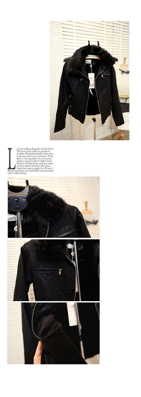 เสื้อกันหนาวผู้ชาย : แจ๊คเก็ตหนังปก furถอดได้ dual use
