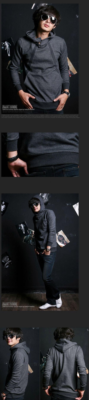 เสื้อกันหนาวผู้ชาย : สเวตเตอร์มีฮูดคอแต่งแถบติดกระดุม