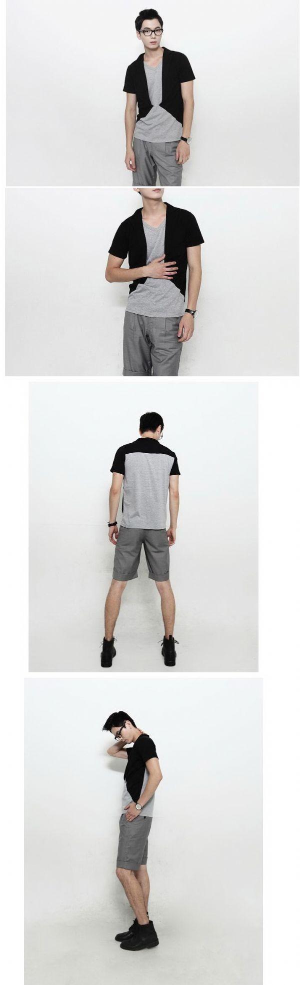 เสื้อผ้าผู้ชาย เสื้อผ้าแฟชั่นผู้ชาย t-shirt มีปก fake 2 ชั้นสปอร์ตแขนสั้น น่ารักม๊าก