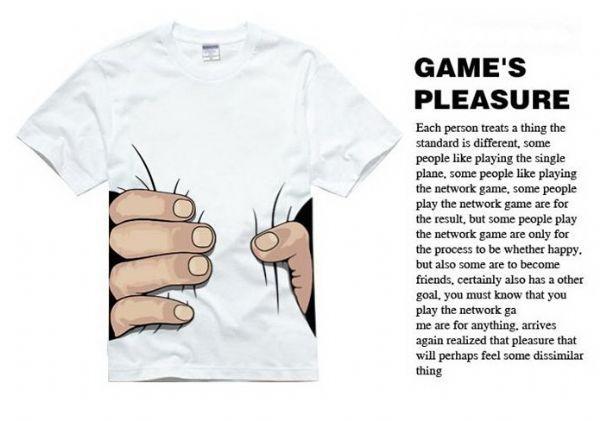 เสื้อผ้าผู้ชาย : t-shirt พิมพ์ลายมือบีบเอว