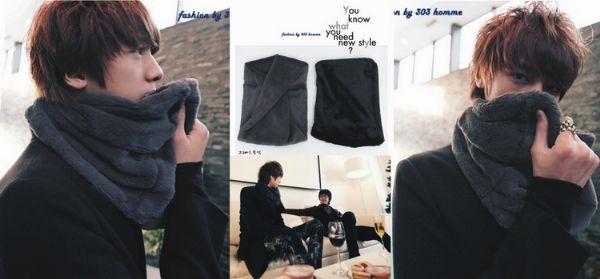 เสื้อหนาวผู้ชาย เสื้อหนาวผู้ชายพร้อมส่ง : ผ้าพันคอแบบกลมขน fur หนานุ่ม