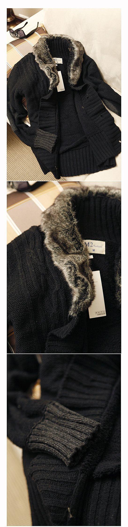 เสื้อกันหนาวพร้อมส่ง : แจ๊คเก็ตนิตต์ปก fur