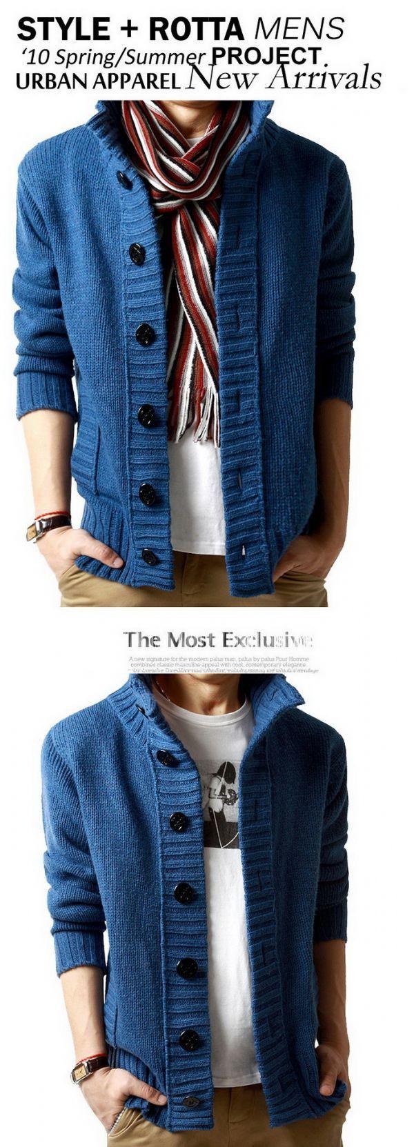เสื้อกันหนาวผู้ชายพร้อมส่ง : cardigan wool สาบใหญ่เก๋