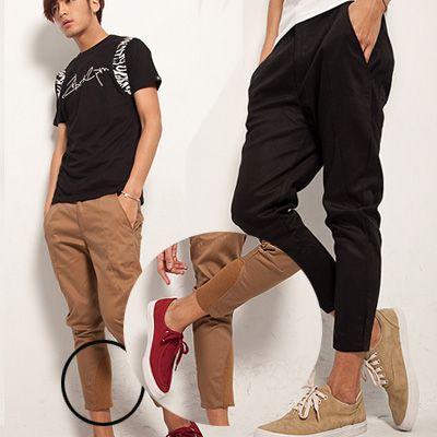 เสื้อผ้าผู้ชาย : กางเกงสามส่วนปลายขาแต่งผ้ายืด