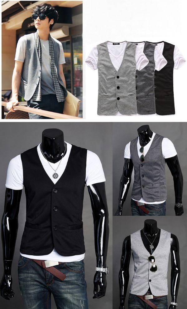 เสื้อผ้าผู้ชายพร้อมส่ง : เสื้อกั้กผ้ายืด casual