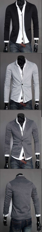 เสื้อผ้าผู้ชายพร้อมส่ง : แจ๊คเก็ตกึ่งสูทผ้ายืดกระเป๋าเจาะ