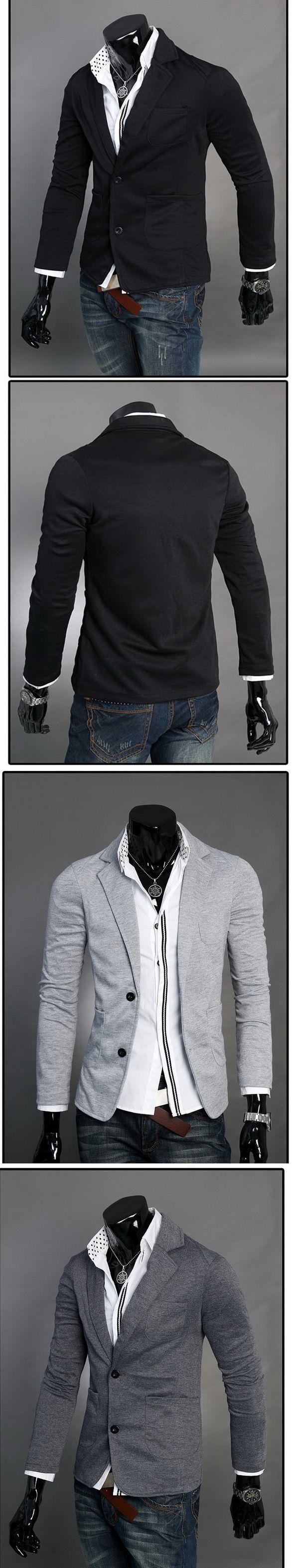 เสื้อผ้าผู้ชายพร้อมส่ง : แจ๊คเก็ตผ้ายืดสไตล์สูทแต่งกระเป๋า