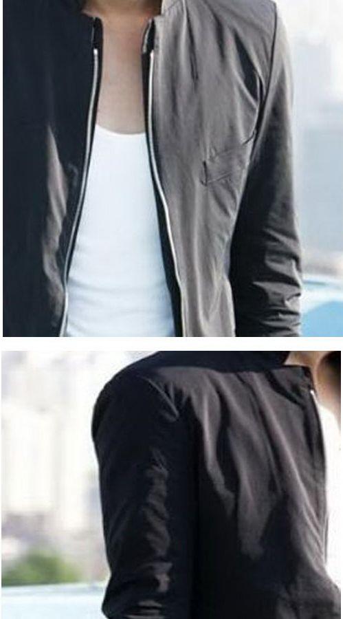 เสื้อผ้าผู้ชายพร้อมส่ง : แจ๊คเก็ตดำซิปหน้าคอจีน