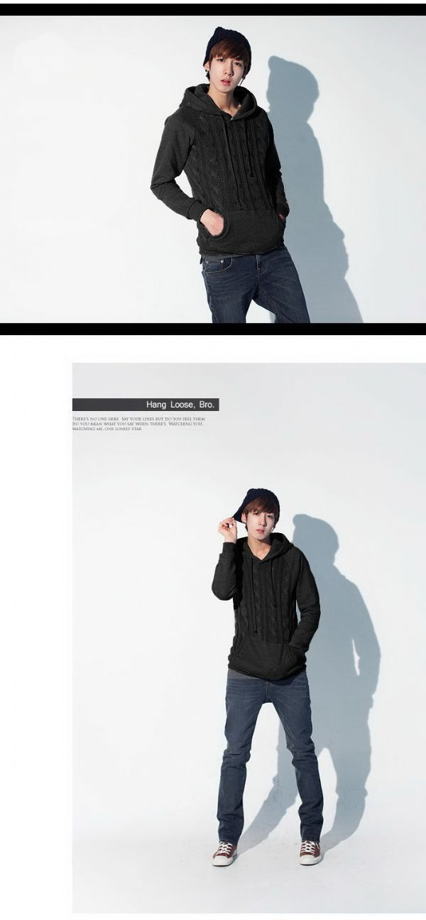 เสื้อกันหนาวผู้ชายพร้อมส่ง : สเวตเตอร์นิตต์ทอลายลูกโซ่ด้านหน้ามีฮูด