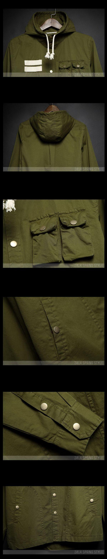 เสื้อผ้าผู้ชายพร้อมส่ง : เสื้อเชิร์ต cotton แขนยาวมีฮูด casual