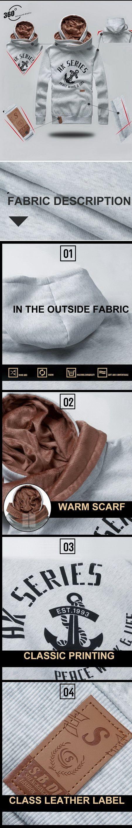 เสื้อกันหนาวผู้ชายพร้อมส่ง : สเวตเตอร์ fleece hooded scarf