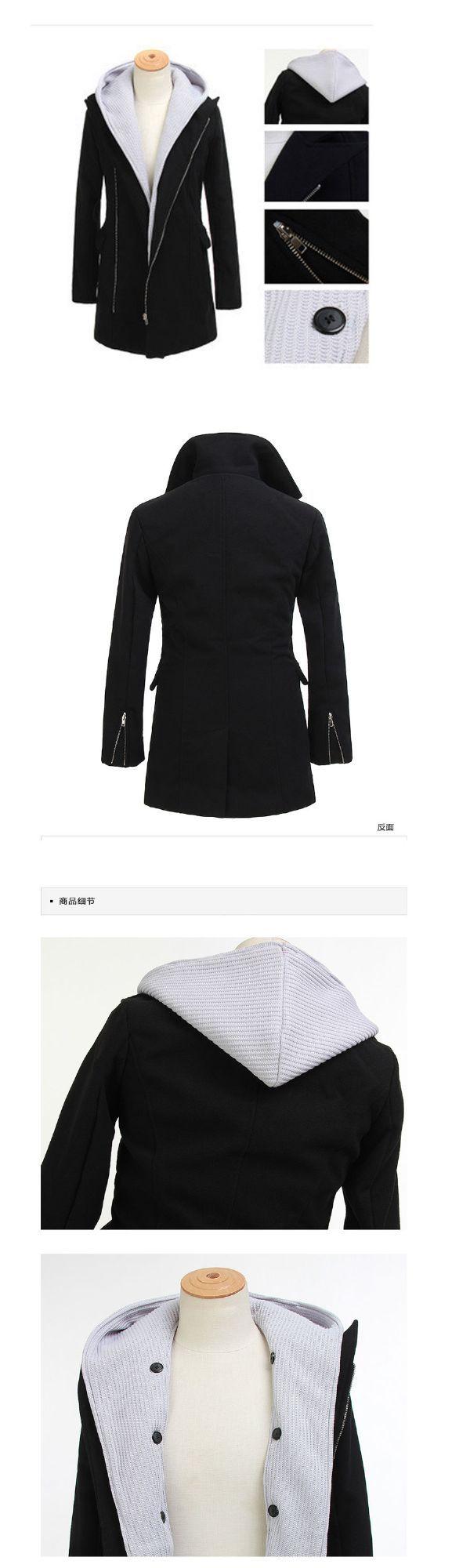 เสื้อกันหนาวผู้ชายพร้อมส่ง : โค้ท 2 ตัว fake มีฮูดนิตต์ถอดได้