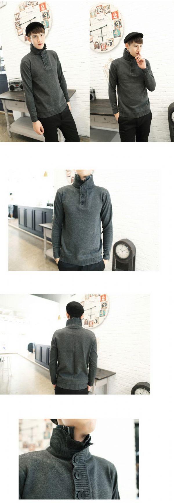 เสื้อกันหนาวผู้ชายพร้อมส่ง : สเวเตอร์ปก 2 ชั้นด้านในลายสก็อต