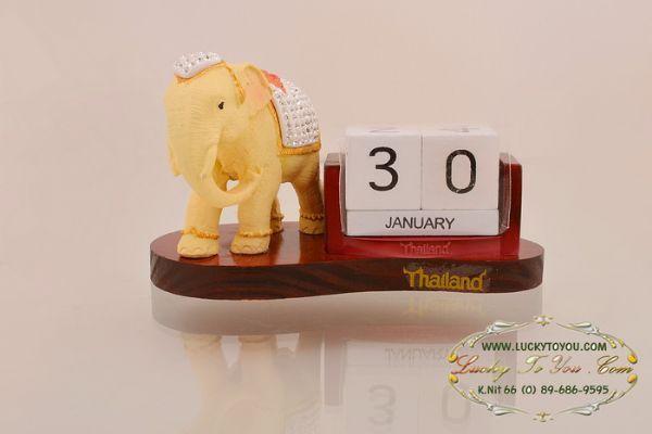 ปฎิทินตั้งโต๊ะ ช้างประดับเพชร