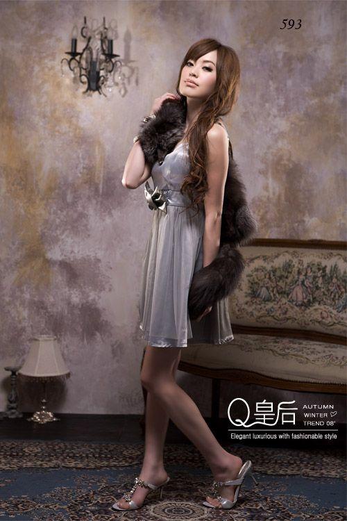 เสื้อผ้าแฟชั่น: dress หรูติดหรูด้วยโบว์ใหญ่ตรงเอว