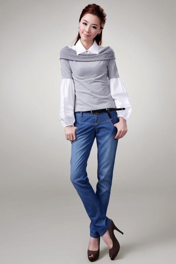 เสื้อกันหนาวพร้อมส่ง : สเวตเตอร์คอเชิร์ต 2 ชั้น fake
