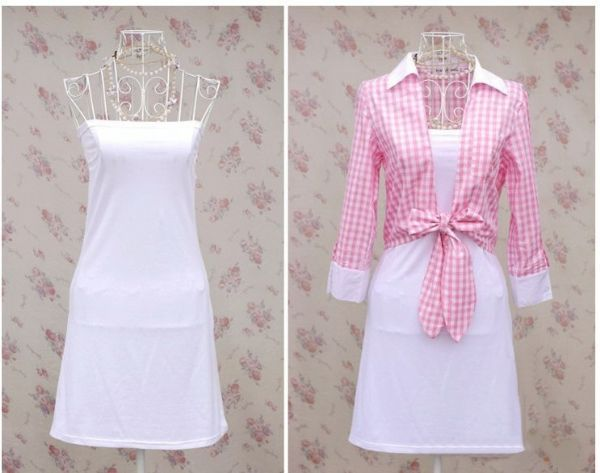 เสื้อผ้าแฟชั่น เสื้อผ้าเกาหลี เดรสขาวเสื้อเชิรต์เอวผูกโบว์