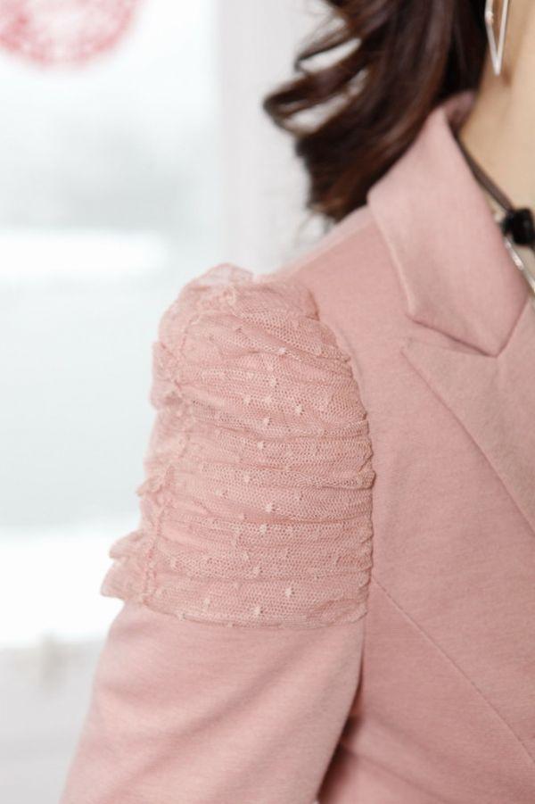 เสื้อผ้าแฟชั่นพร้อมส่ง : slim สูท double breast ต้นแขนแต่งลูกไม้
