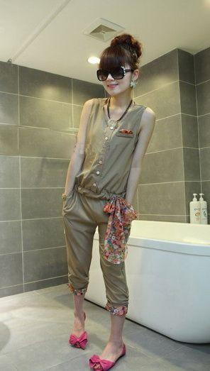 เสื้อผ้าแฟชั่น เสื้อผ้าเกาหลี ชุดหมีสามส่วนรูดเอวผ้าชีฟอง