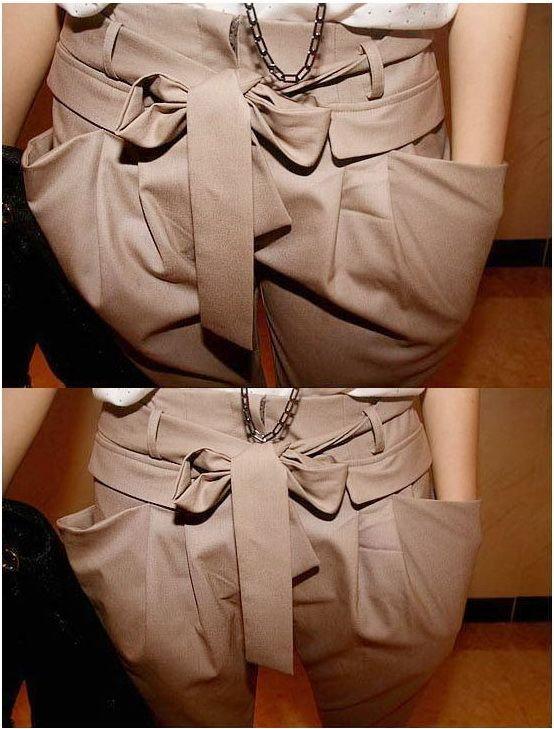 เสื้อผ้าแฟชั่นพร้อมส่ง : กางเกงสไตล์เกาหลีโมเดิร์นเอวผูกโบว์