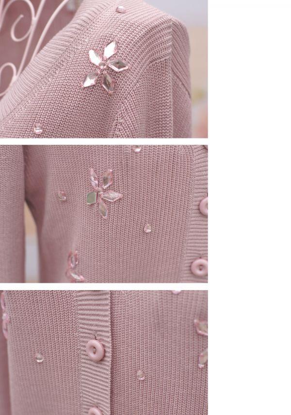 เสื้อกันหนาวพร้อมส่ง : เสื้อกันหนาวปักคริสตัลเทียม