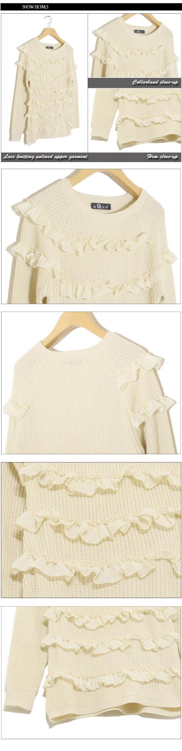 เสื้อกันหนาวพร้อมส่ง : สเวตเตอร์นิตต์สีครีมแต่งริ้วระบายด้านหน้า