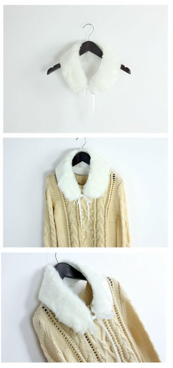 เสื้อกันหนาวพร้อมส่ง : สเวตเตอร์นิตต์ลายปก fur ถอดได้