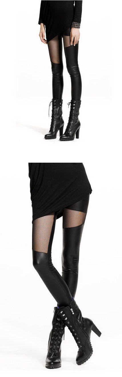 เสื้อผ้าแฟชั่นพร้อมส่ง : legging หนังซีทรู