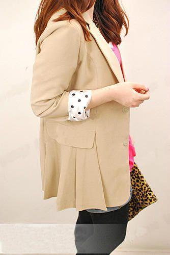 เสื้อผ้าแฟชั่นพร้อมส่ง : สูทสไตล์เกาหลีแต่งผ้าจุดปลายแขน