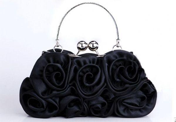 กระเป๋าถือออกงานกลางคืนแต่งดอกกุหลาบ