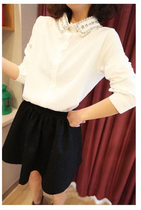 เสื้อผ้าแฟชั่นพร้อมส่ง : เสื้อเชิร์ตขาวปกแต่งหมุดเพชร