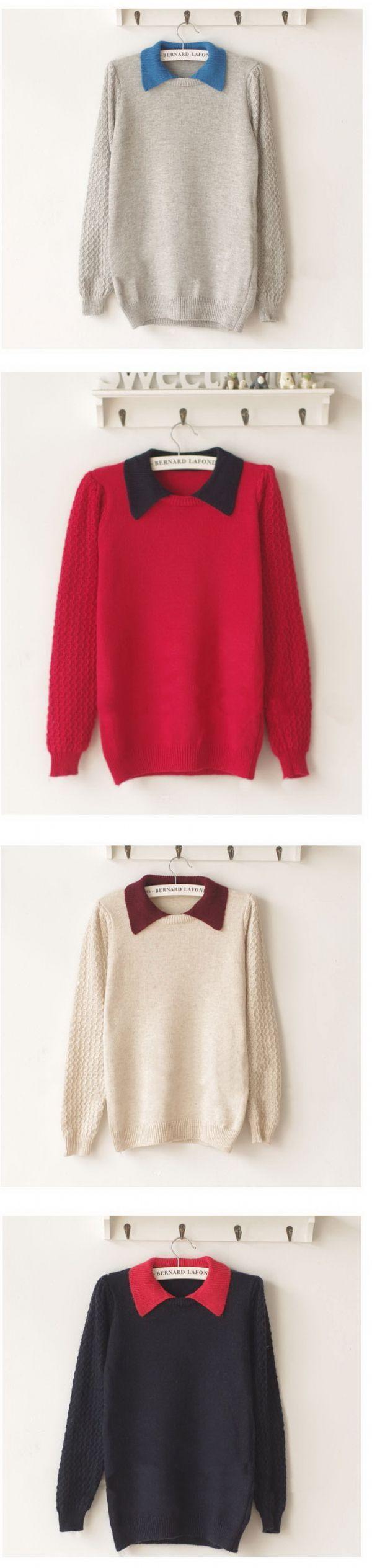 เสื้อกันหนาวพร้อมส่ง : สเวตเตอร์ wool คอ 2 ชั้น fake