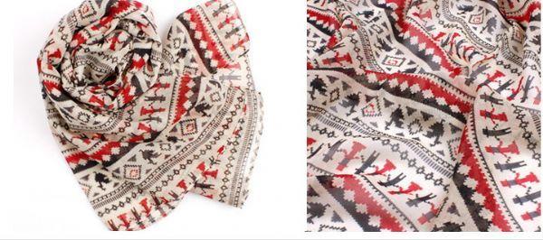 เสื้อผ้าแฟชั่นพร้อมส่ง : ผ้าพันคอลายกราฟฟิค hand in hand