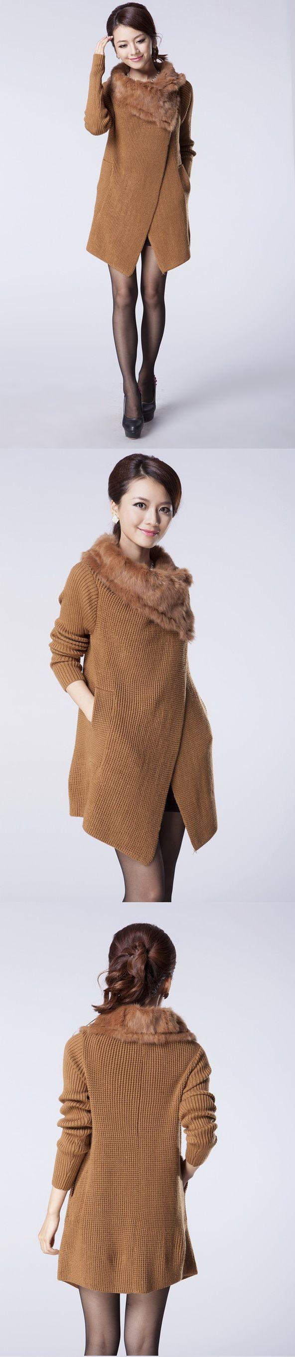 เสื้อกันหนาวพร้อมส่ง : โค้ทนิตต์ป้ายข้างปก fur ขนกระต่าย