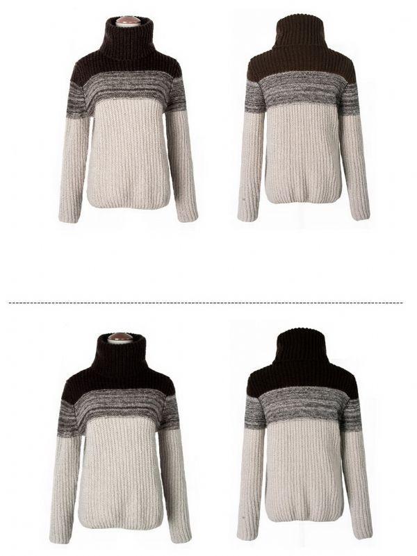 เสื้อกันหนาว : สเวเตอร์นิตต์คอเต่าท่อนบน 2 สี