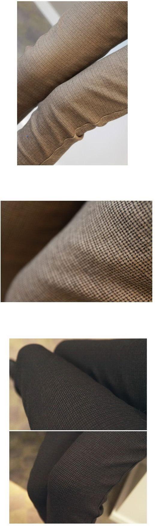 เสื้อผ้าแฟชั่น : กางเกงสกินนี่ลายตารางเล็กบุ fleece กันหนาว