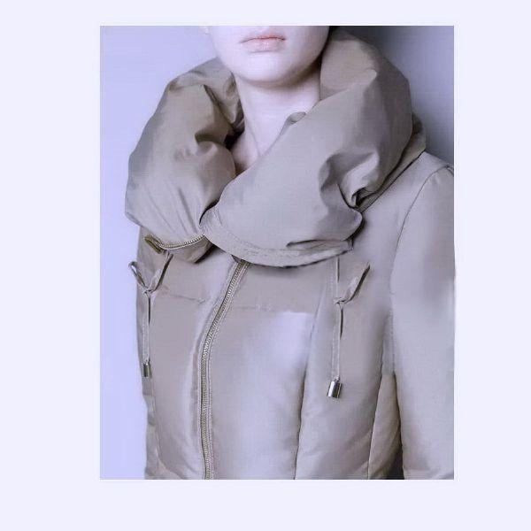 เสื้อกันหนาวพร้อมส่ง : โค้ทขนเป็ดแต่งซิปเรียบเก๋ดูดีคลาสิค
