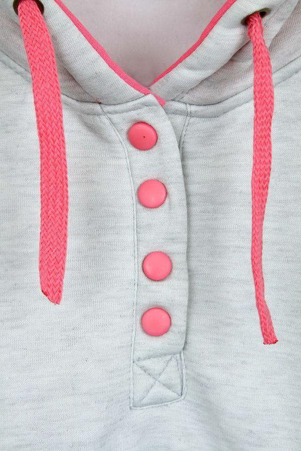 เสื้อกันหนาวพร้อมส่ง : สเวตเตอร์บุผ้าสำลีมีฮูดแขนสองสี