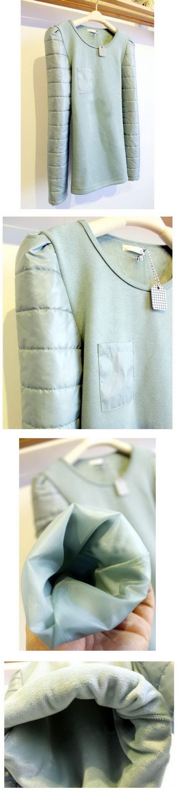 เสื้อผ้าแฟชั่น : สเวตเตอร์บุผ้าขนสัตว์หนาพิเศษแขนบุกันหนาว