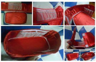 กระเป๋าจัดระเบียบ ผ้าซาติลแต่งช่อง-พิมพ์ลาย-สีพื้น