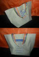กระเป๋าผ้า 600D เสริมก้น ใบใหญ่แต่งหูด้วยสายสำเร็จสีรุ้งสดใส